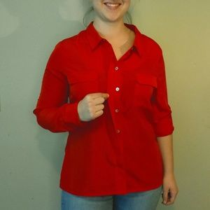 Romeo & Juliet Couture Lone Sleeve Red Blouse Sz L